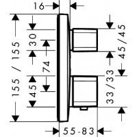 Смеситель для ванны Hansgrohe Ecostat E 15708000 (наружная часть)