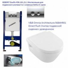 Инсталляция Geberit 458.161.21.1 + унитаз Villeroy&Boch Omnia Architectura Direct flush 5684HR01