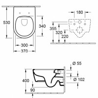 Набор Villeroy&boch 5656RS01 Унитаз подвесной AVENTO Direct Flush с Крышкой Slim Soft Close